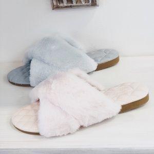Faux Fur Slippers Slides | Pink
